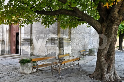 Old church benches Stock Photo