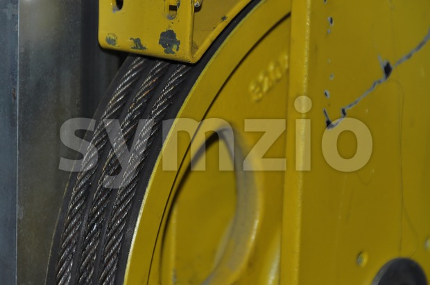 Elevator´s cable winch Stock Photo