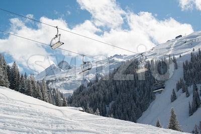 Skilift in Montafon valley Stock Photo