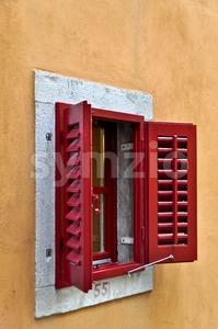 Red Window Shutter Stock Photo