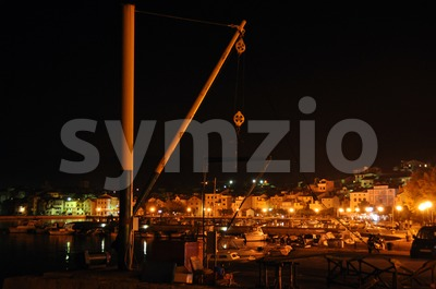 Croatian marina at night Stock Photo