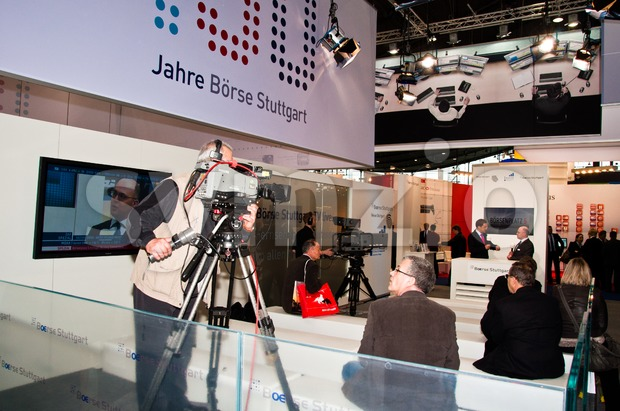 TV studio at Invest exhibition at the Trade Fair Stuttgart Stock Photo