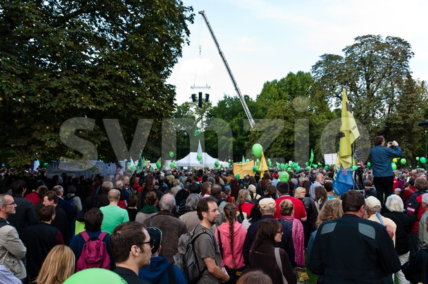 STUTTGART - SEPTEMBER 18: Demonstration against the S21 plans Stock Photo