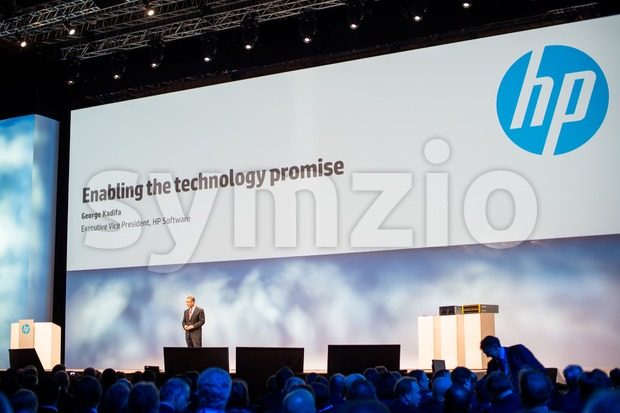 FRANKFURT – DECEMBER 4, 2012: George Kadifa, newly designated  Execute Vice President  HP Software,  delivers a keynote ...