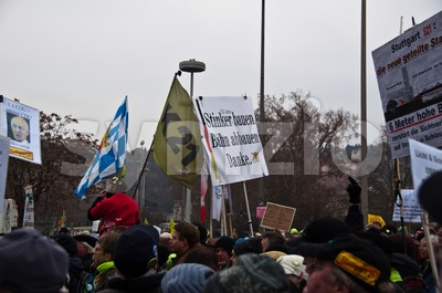 Stuttgart - Jan 29, 2011: Demonstration against S21 plans Stock Photo