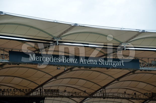"STUTTGART - SEPTEMBER 04 : VfB Stuttgart, the soccer team, present their renovated stadium ""Mercedes-Benz Arena"" during event ""Neckarpark-Fest"" on ..."