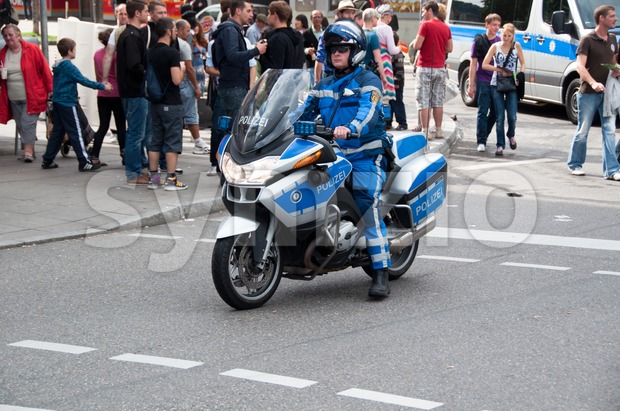 Policeman on motorbike Stock Photo
