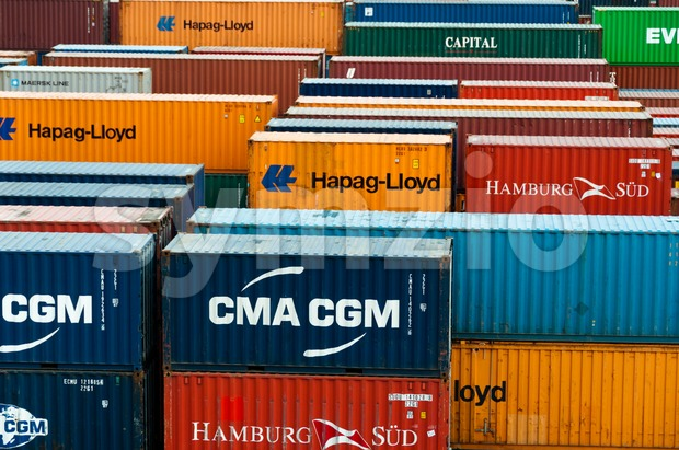 colorful freight containers Stock Photo