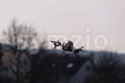 Flying the AR DRONE Quadricopter in Stuttgart, Germany Stock Photo