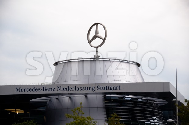 "STUTTGART - SEPTEMBER 04 : The Mercedes-Benz dealership in Stuttgart is well visited during event ""Neckarpark-Fest"" on September 04, 2011 ..."