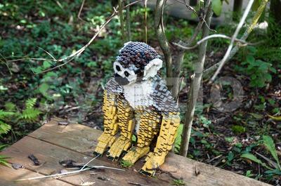 Monkey built out of Lego bricks Stock Photo