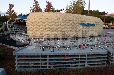 Allianz Arena (Munich Soccer Stadium)  built out of Lego bricks Stock Photo