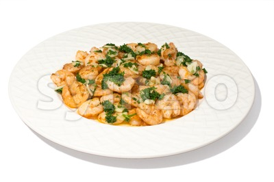 garlic prawns Stock Photo