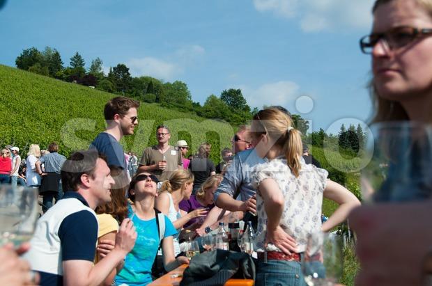 "Obertürkheim, Germany – June 2, 2011: The ""Weinmanufaktur Untertürkheim"" organized a wine tour all over the Ailenberg on the 2nd ..."