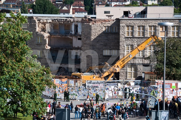 STUTTGART - AUGUST 28: Demonstration against the S21 plans Stock Photo