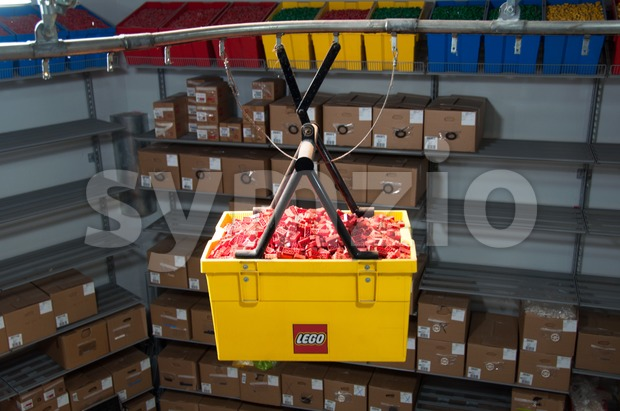 Production lane of Lego bricks Stock Photo