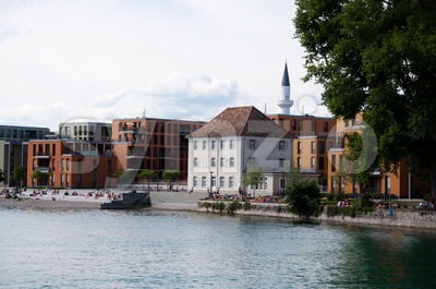 Development area around Mevlana Mosque in Konstanz Stock Photo