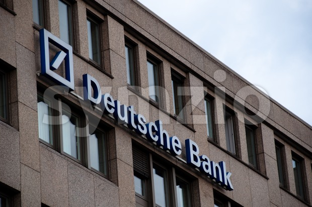 Deutsche Bank logo (neon sign) Stock Photo