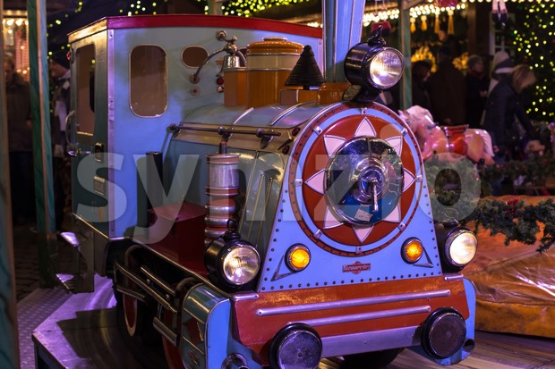locomotive on a merry-go-round Stock Photo