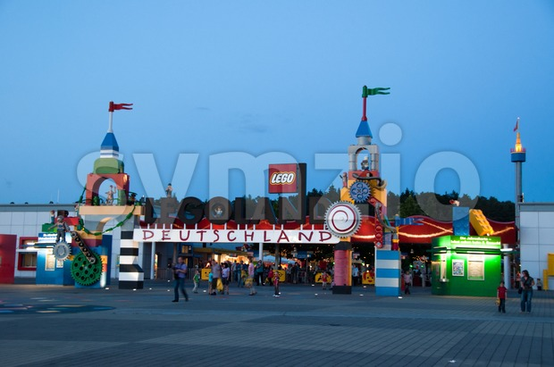 Entrance of Legoland Germany in the evening Stock Photo