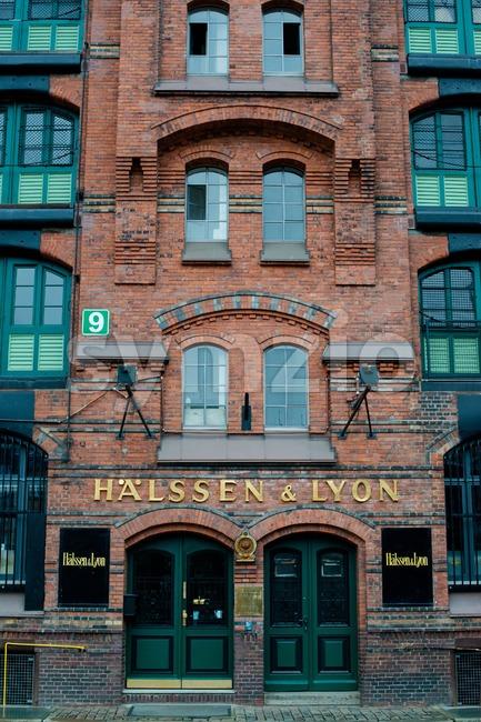 HAMBURG - DECEMBER 2, 2012:  Beautiful warehouse of tea merchants Haelssen & Lyon in the traditional harbor area on ...