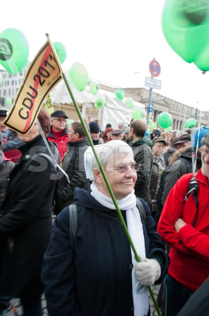 Stuttgart - MARCH 19: Demonstration against S21 Railway project Stock Photo