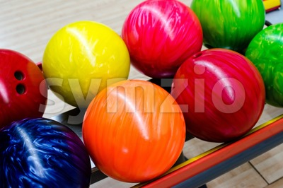 Colorful bowling balls Stock Photo