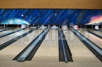 Bowling lanes Stock Photo