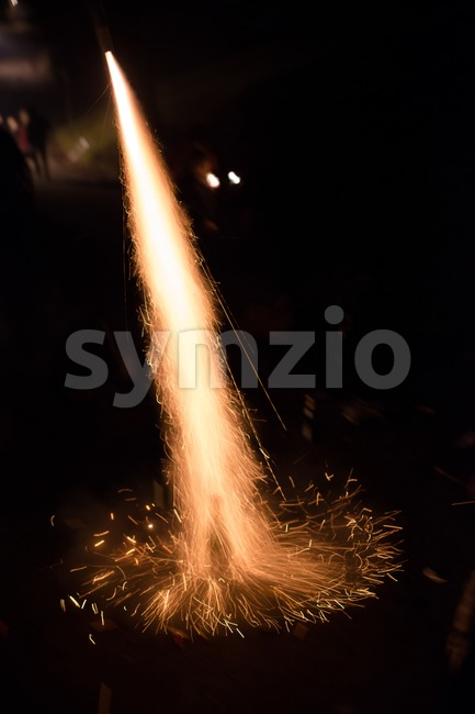 Fireworks rocket launch Stock Photo