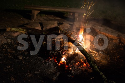 Flames of a cozy campfire Stock Photo