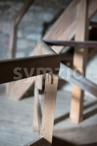 old wooden stairs Stock Photo