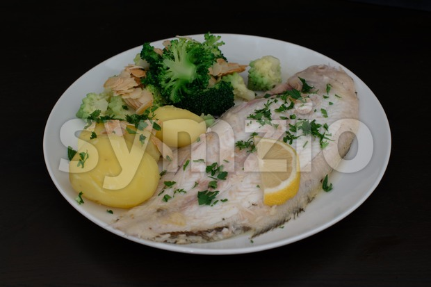 Dover sole fish dinner Stock Photo