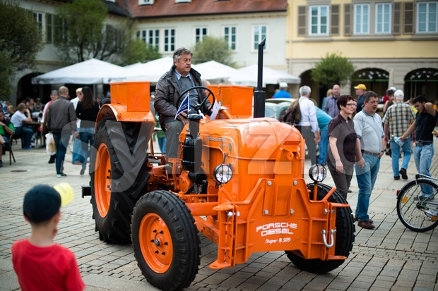 LUDWIGSBURG, GERMANY - MAY 5, 2013: A classic Porsche tractor model Diesel Super B 309 from 1963 is presented during ...