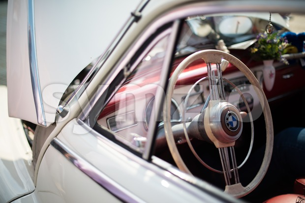 LUDWIGSBURG, GERMANY - MAY 5, 2013: A BMW classic car is presented during the eMotionen show on the market square ...