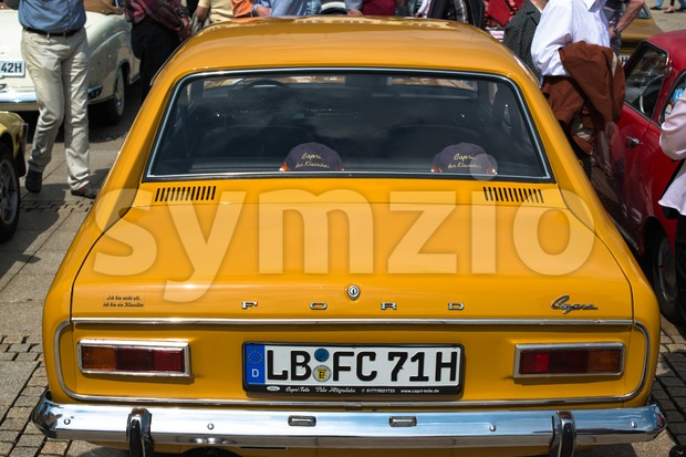 LUDWIGSBURG, GERMANY - MAY 5, 2013: A Ford Capri classic car is presented during the eMotionen show on the market ...