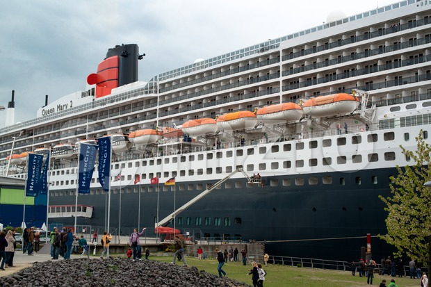 Boarding of Queen Mary 2, the great luxury cruise ship Stock Photo