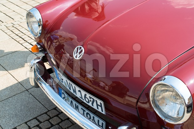 LUDWIGSBURG, GERMANY - MAY 5, 2013: A Volkswagen classic car is presented during the eMotionen show on the market square ...