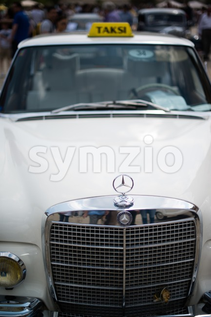 LUDWIGSBURG, GERMANY - MAY 5, 2013: A Mercedes-Benz classic car previously being used as a Taxi in Turkey is presented ...