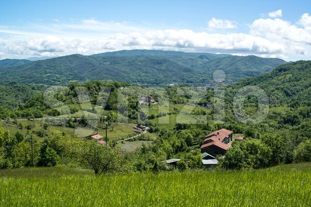 Hillside Village in Liguria, Italy Stock Photo