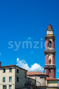 Church tower in Cairo Montenotte, Liguria Stock Photo