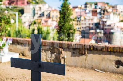 Wooden Cross In Cemetery Stock Photo