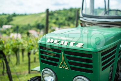 Old Deutz tractor in vineyard Stock Photo