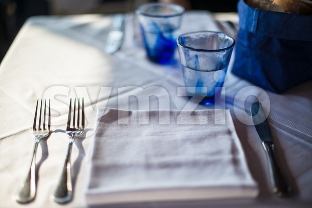Cozy dinner table Stock Photo