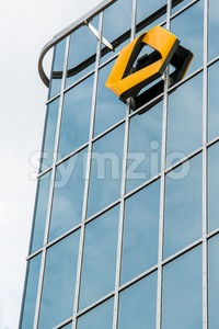 Commerzbank logo on modern facade Stock Photo
