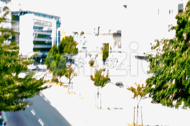 Abstract; City with streets, buildings and trees Stock Photo