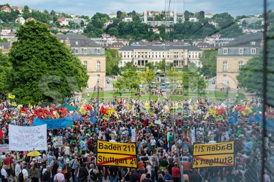 Stuttgart 21 - Demonstration meeting protests against Turkey Stock Photo