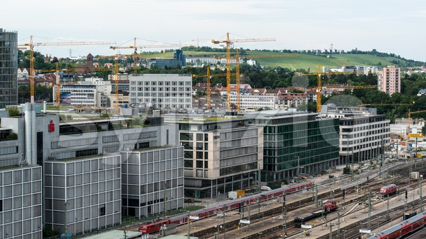 Stuttgart main railway station - S21 Stock Photo