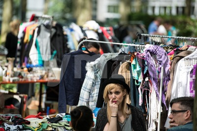 Fashionistas having fun at the flea market Stock Photo