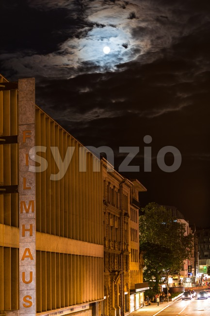 Full moon over Filmhaus, Stuttgart Stock Photo