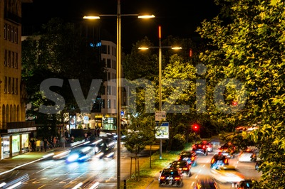 Traffic in Stuttgart at night Stock Photo